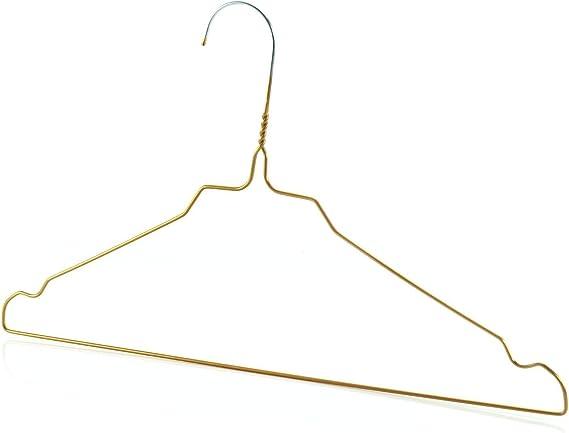 Hangerworld 400 Perchas 40cm Metal Dorado Galvanizado Ahorra Espacio Camisas Muescas para Tirantes