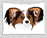 Ambesonne Animal Decor Tapestry, Cute Smart Adorable Best Friend Dog Movie Pet Cartoon Artwork Image, Wall Hanging for Bedroom Living Room Dorm, 80WX60L inches, Cinnamon Black White