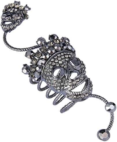 EVER FAITH Black-Tone Austrian Crystal Halloween Gothic Style Skull with Crown Knuckle Ring Black