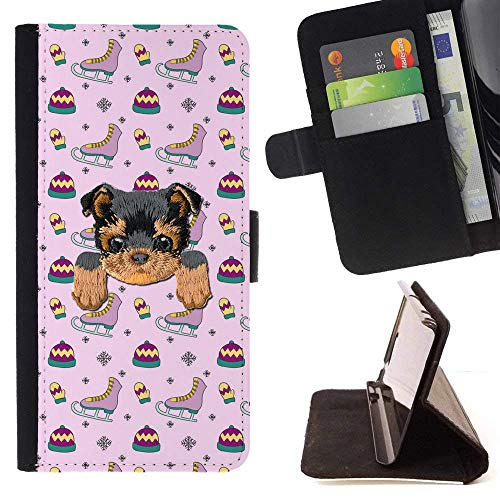 [ Yorkie ] Embroidered Cute Dog Puppy Leather Wallet Case for Samsung Galaxy S7 Active [ Pink Ice Skating Pattern ]