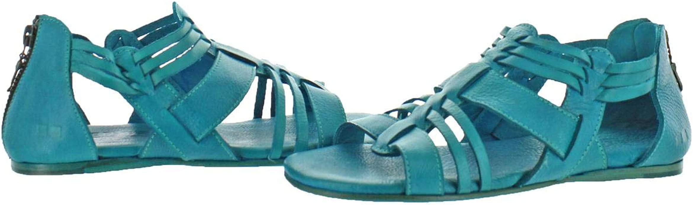 Bed Stu CARA Betta Dip Dye Turquoise Gladiator Leather Strappy Sandals Back Zip