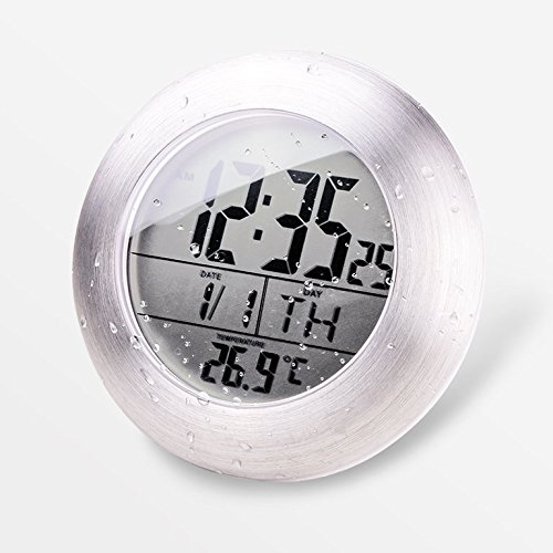 YIJIA Bathroom Shower Clock Battery Powered ABS Plastic Bathroom Digital Waterproof Clock with 4 Suction Cups, Hanging Hole and Table Stand