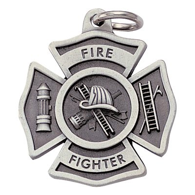 Customizable Fire Fighter Maltese Cross Antique Pewter Finish Keychain with Split-ring and Chain, includes Personalization
