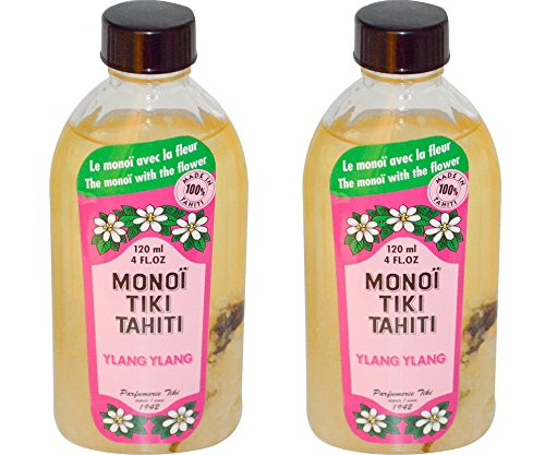 Monoi Tiki Tahiti Ylang Ylang Coconut Oil (Pack of 2), Scented With Fresh Handpicked Tiare Flowers, 100% Made in Tahiti, 4 fl. oz.