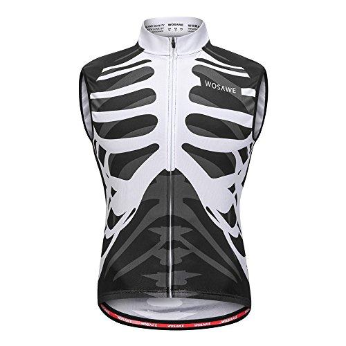 Sleeveless Mens Bike Jersey - WOSAWE Men's Cycling Sleeveless Jersey Biking Racing Top Vest with Rear Pockets, Skeleton L