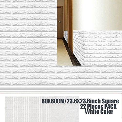 Wallpaper 3D Foam Brick Panel For Living Room Bedroom Kids Children's Room, White Color Panel Tile Peel And Stick Foam Wall Decor Acoustic Tiles 22 PACK by POPPAP