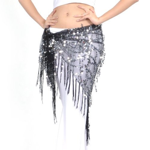 BellyLady Belly Dance Hip Scarf Shawl With Fringe Tribal Triangle Tassles Wrap BLACK ()