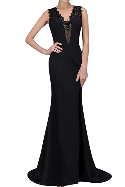 sunvary Vintage vaina Mermaid satinado madre de la Novio Novia vestidos de Negro negro 20 W