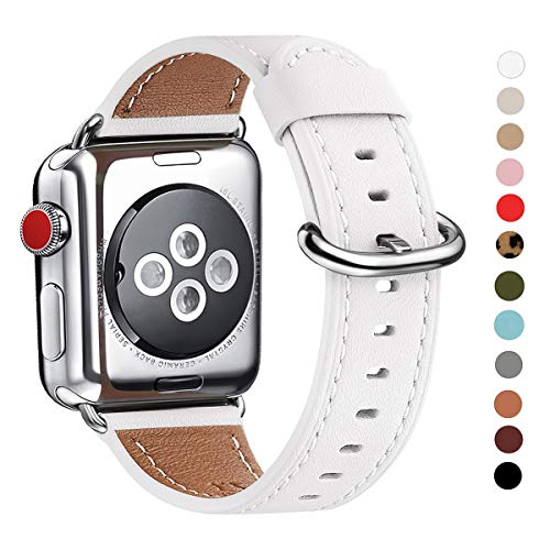 WFEAGL Compatible with iWatch Band 38mm 40mm 42mm 44mm, Top Grain Leather Band for iWatch Series 4,Series 3,Series 2,Series 1,Edition (White Band+Silver Adapter, 38mm 40mm)