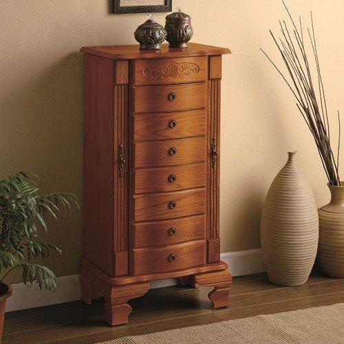 Oak Jewelry Chest - Coaster Home Furnishings 4014 Traditional Jewelry Armoire, Oak
