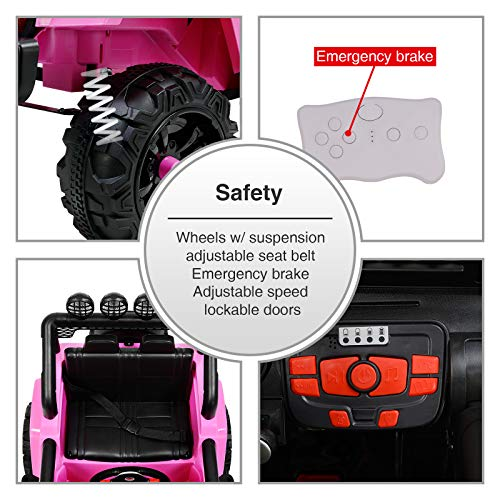 Uenjoy Electric Kids Ride On Cars 12V Battery Motorized Vehicles W/ Wheels Suspension, Remote Control, Music& Story Playing, Colorful Lights, Sunshine Model, Pink by Uenjoy (Image #7)