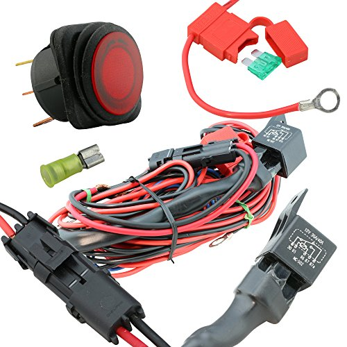 LAMPHUS 17 12 AWG Off Road 40 - 50 LED Light Bar Heavy Duty Wiring Harness Kit - Single Lead 40 Amp Relay ONOFF Switch