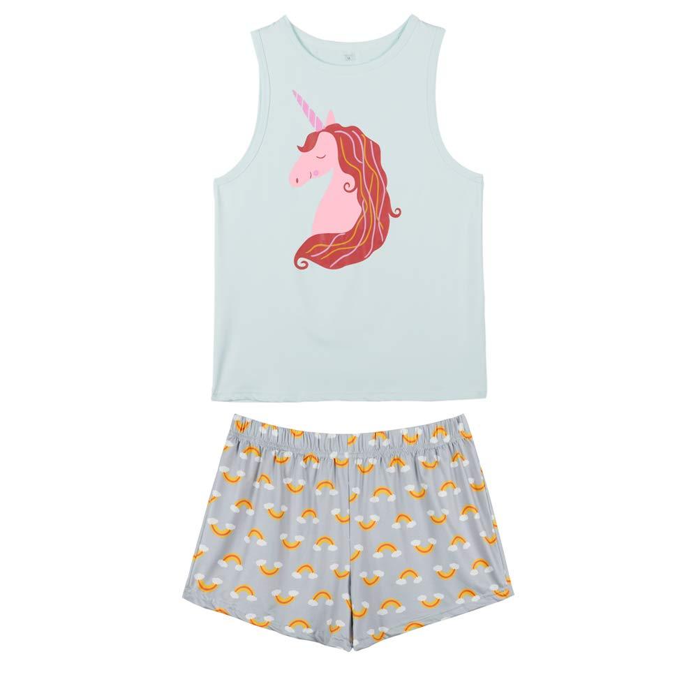 VENTELAN Pajamas Women Summer Sleep Vest Cute Heart Sleepwear Soft Cool PJ Set (Large, Green)