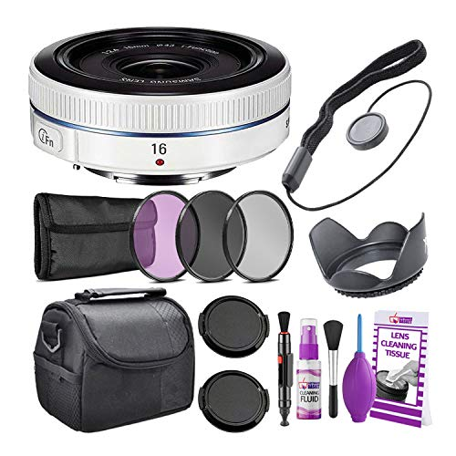 (Samsung16mm f/2.4 Ultra Wide Pancake Lens (White) NX Mount EX-W16ANW + Warranty + Cleaning Kit + Case + Accessories Bundle)