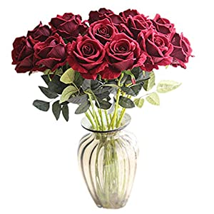 Celine lin Luxurious Artificial Rose Flowers Fake Rose Floral Home decorations for Bridal Wedding Bouquet, Birthday Flowers Bunch Hotel Party Garden,Dark red 53