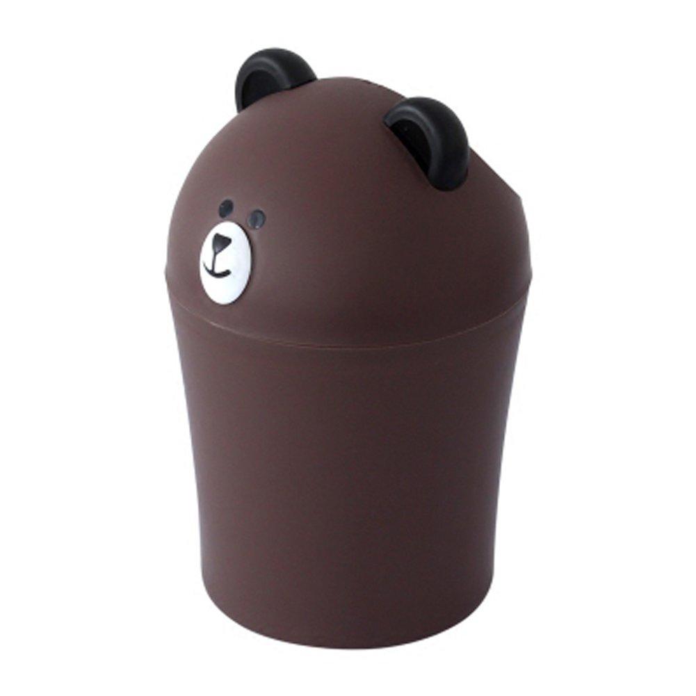 Battletter Mini Creative Cartoon Bear Trash Can (Brown)