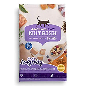 Rachael Ray Nutrish Longevity Chicken with Chickpeas & Salmon Recipe Dry Cat Food, 14 Pounds 109