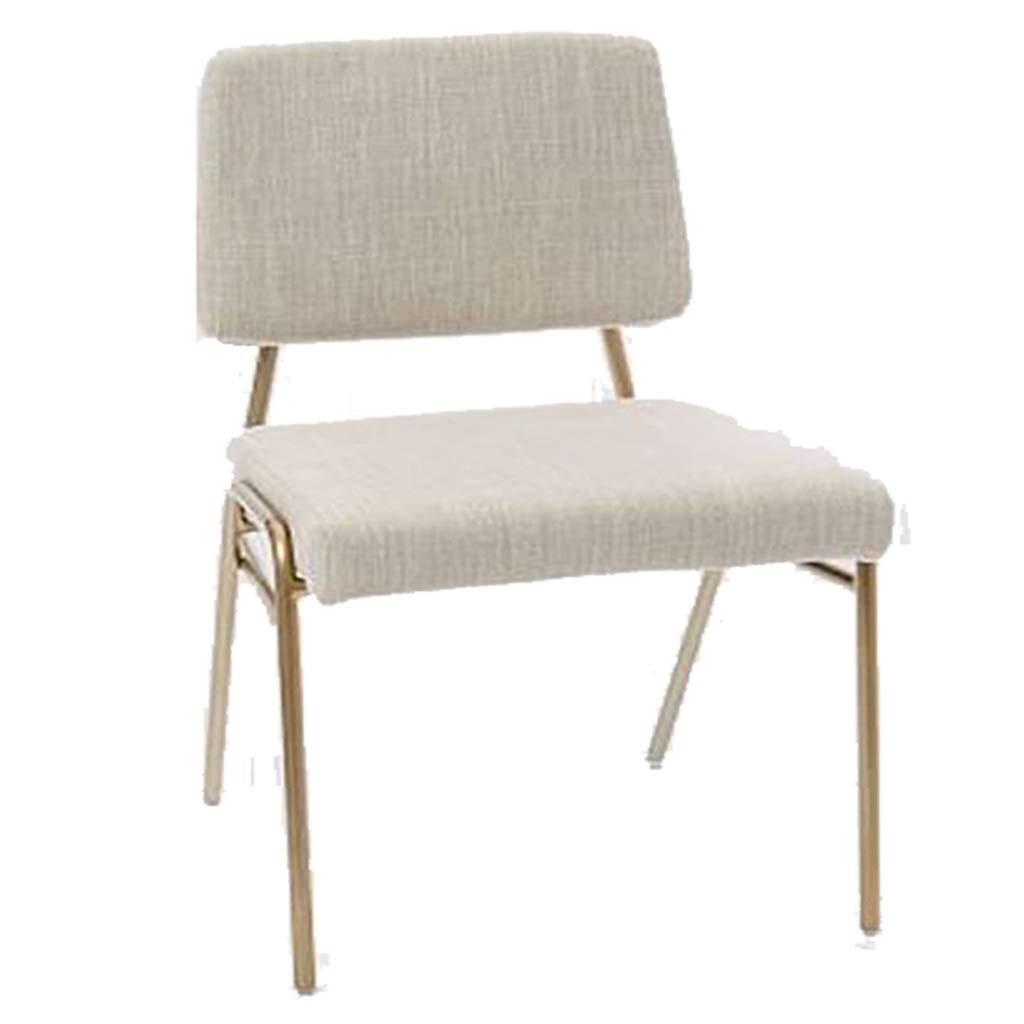 LYJD Nordic Simple Dining Chair - Cojín De Tela Dormitorio Creativo Silla De Vestir Respaldo Hogar para Adultos Restaurante Silla Reposapiés (Color : Blanco)