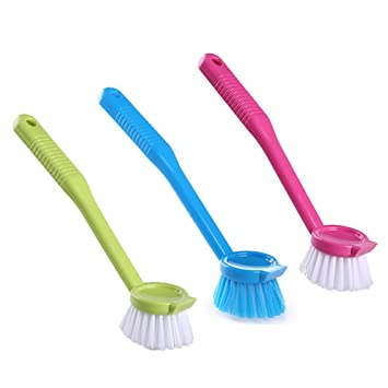 Longless mango largo cepillo suave y esponjosa wok puede cepillar fuertes ollas cepillo de descontaminación para lavar platos cepillo multiusos estufa de la ...
