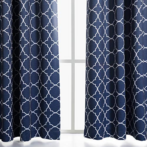 MYSKY HOME Moroccan Tile Pattern Room Darkening Thermal Insulated Grommet Window Curtains for Bedroom, Navy, 52 Inch by 84 Inch Long, Set of 2 Panels