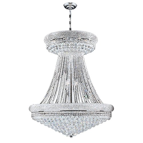 "Worldwide Lighting Empire Collection 32 Light Chrome Finish Crystal Chandelier 36"" D x 45"" H Round Large"