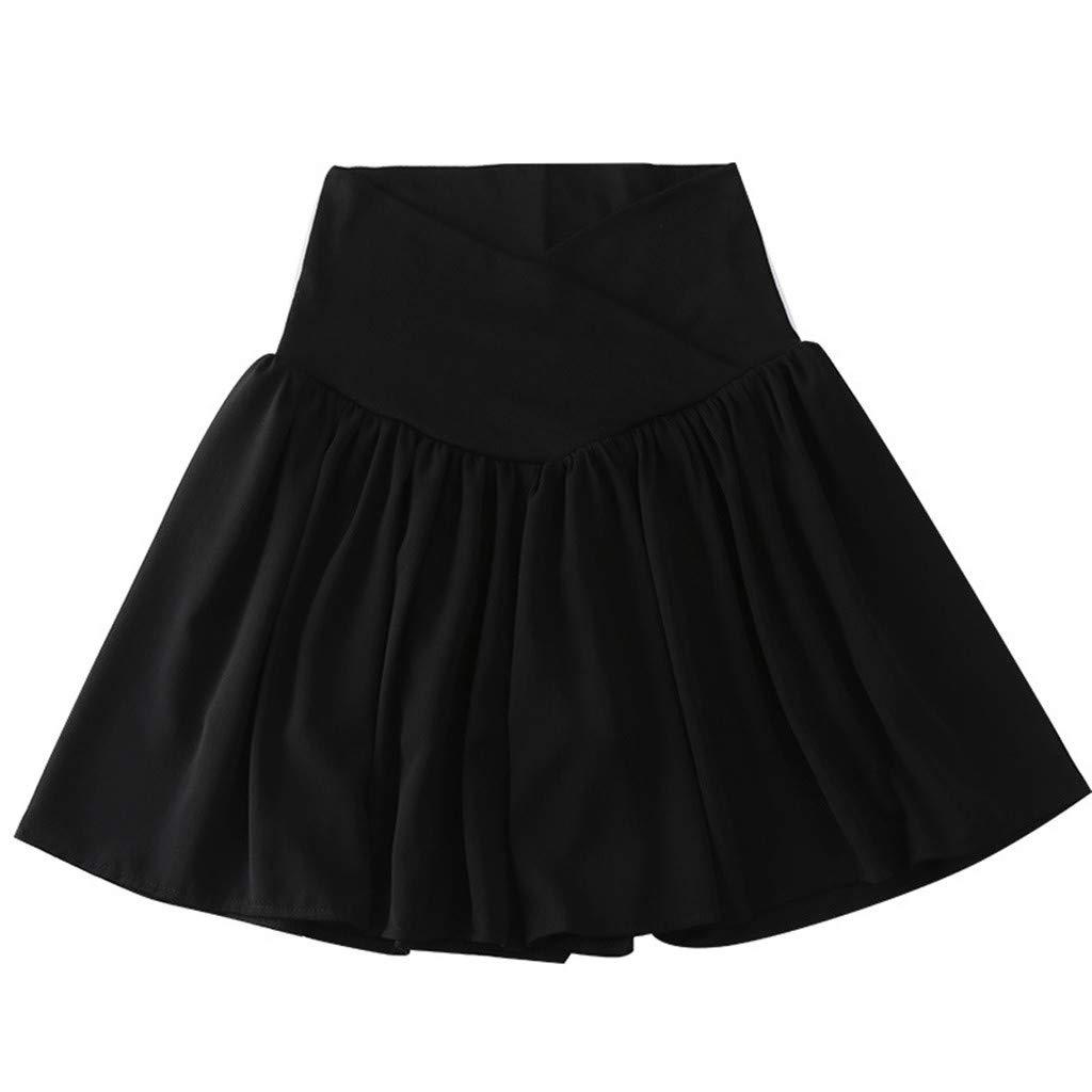Tensay Pregnant Women Maternity Ruffled Shorts Pregnancy Casual High Waist Pleated Skirt Pants