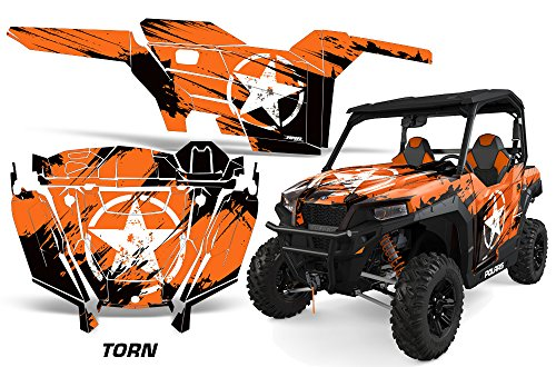 AMRRACING Polaris General 2016+ Full Custom UTV Graphics Decal Kit - Torn Orange ()