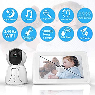 "BIGASUO Upgrade Baby Monitor, Video Baby Monitor 7"" Large LCD Screen, Baby Monitors with Camera and Audio Night Vision, Support Multi Camera, Two Way Talk Temperature Sensor, Built-in Lullabies"