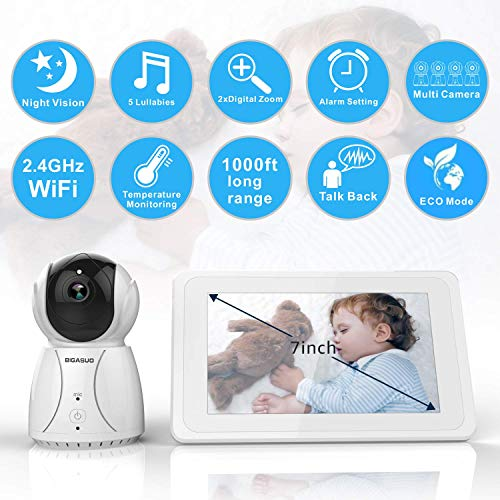 BIGASUO Upgrade Baby Monitor, Video Baby Monitor 7'' Large LCD Screen, Baby Monitors with Camera and Audio Night Vision, Support Multi Camera, Two Way Talk Temperature Sensor, Built-in Lullabies by BIGASUO (Image #1)