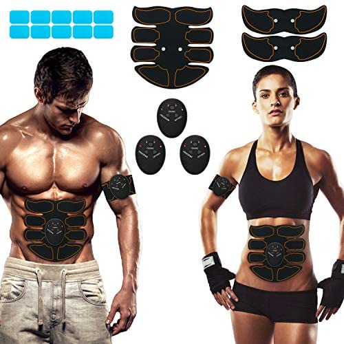 SPORTLIMIT Abs Stimulator, Wireless Portable Fitness Workout Equipment for Men Woman Abdomen/Arm/Leg Home Office Exercise,10pcs Free Gel Pads 1