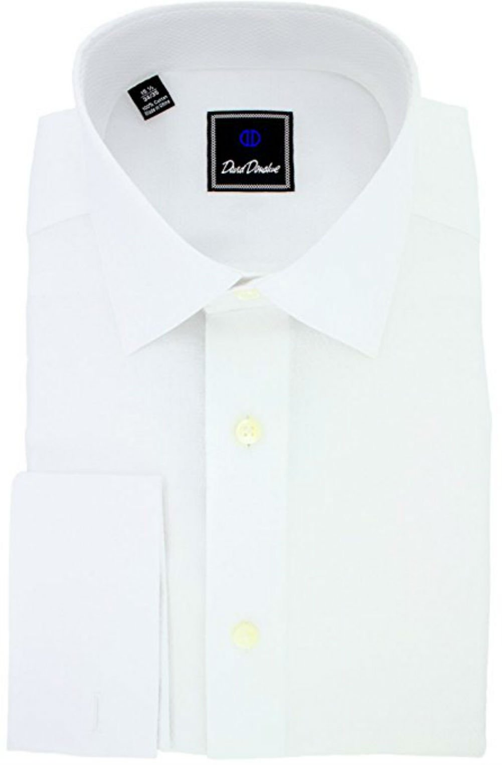 David Donahue Men's Dobby Weave Trim Fit Tuxedo Dress Shirt - Size 15, 34/35