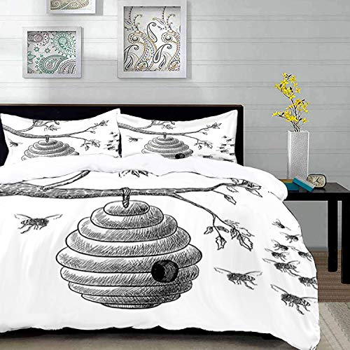 Duvet Cover Set,Nature Home Decor,Sketchy Hand Drawn Image of Honeycomb Bees Leaves Branches Art,King Size Decorative 3 Piece Bedding Set with 2 Pillow Shams,Green Blue Yellow,Super Soft Comfort MICR