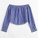 Spbamboo Women Button Striped Backless Off Shoulder Shirt Long Sleeve Blouse