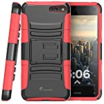 i-Blason Amazon Fire Phone Case – Prime Series Dual Layer Holster Case with Kickstand and Locking Belt Swivel Clip (Red)