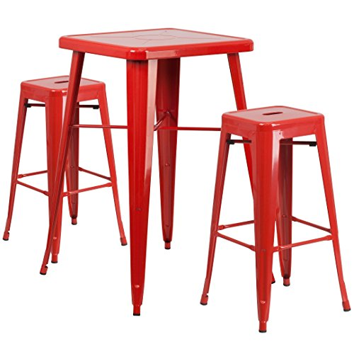 MFO 23.75'' Square Red Metal Indoor-Outdoor Bar Table Set with 2 Square Seat Backless Barstools