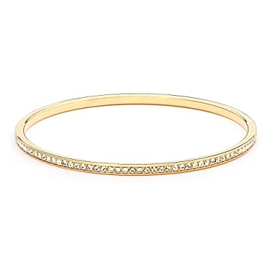 MYJS Trinity 3 Gold Plated Interlocking Bangle Bracelet with Clear Swarovski Crystals oc92qQ1