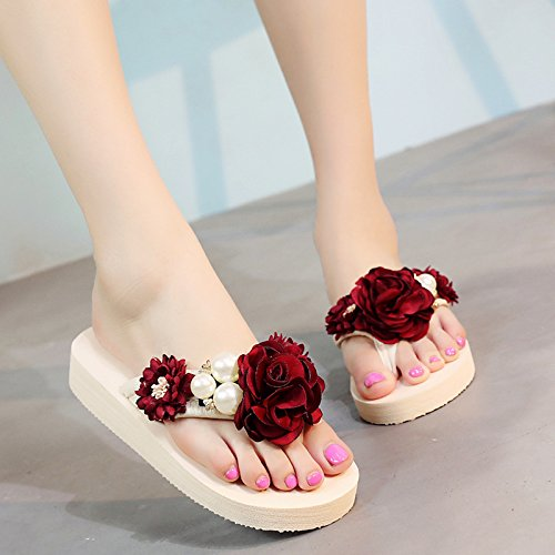 grueso Desgaste para antideslizante seaside Flores Rojo externo flat inferior mujer AWXJX Chanclas ORqxwtYnF