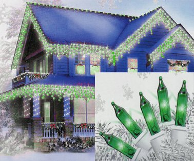 Sienna Set of 100 Green Mini Icicle Christmas Lights - White - Green Icicle