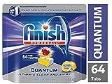 Finish Dishwasher Detergent, Quantum Max, Lemon, 64 Tablets, Shine and Glass Protect
