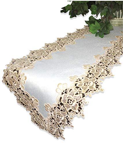 Mantel Shelf Gold Rose Lace Table Runner 65