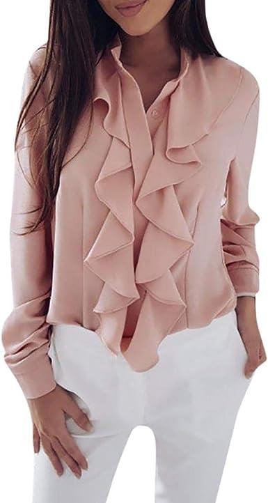Autumn Womens Long Sleeve Wrap Tops Collar Solid T-Shirt V Neck Peplum Blouse