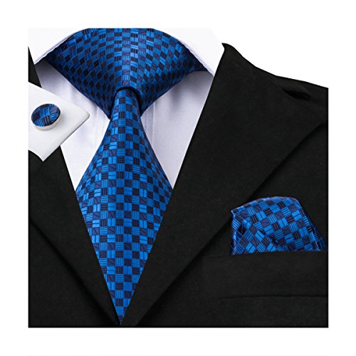 Plaid Silk Necktie (Hi-Tie Mens Classic Blue Plaids Woven Silk Tie Pocket Square Cufflinks set)