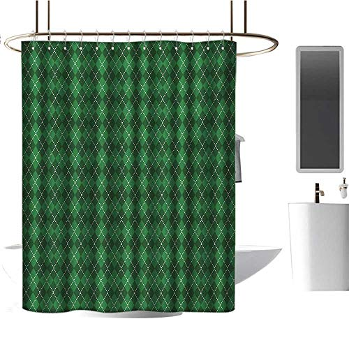 Qenuan Polyester Fabric Shower Curtain Irish,St. Patricks Day Celebration Inspired Vintage Pattern Argyle Tartan Dots,Green Dark Green White,Metal Rust Proof Grommets Bathroom Decoration 54