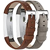 Tobfit Fitbit Alta HR and Fitbit Alta Leather Bands Replacement Leather Watch Bands With Stainless Steel Buckle for Fitbit Alta HR and Alta (Chocolate Brown+Suede Grey)
