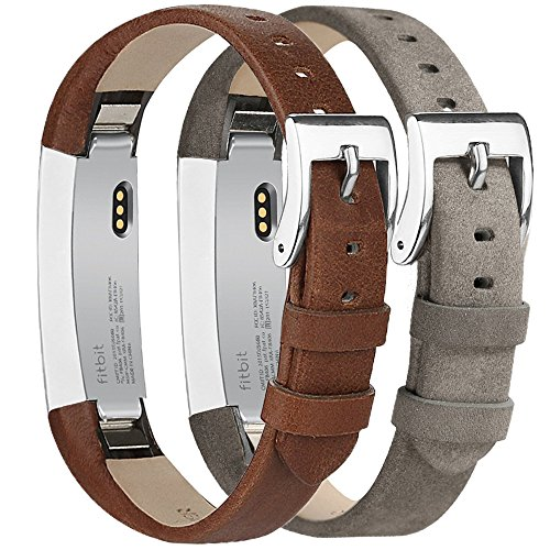 Tobfit Fitbit Alta HR and Fitbit Alta Leather Bands Replacement Leather Watch Bands With Stainless Steel Buckle for Fitbit Alta HR and Alta (Chocolate Brown+Suede Grey) by Tobfit