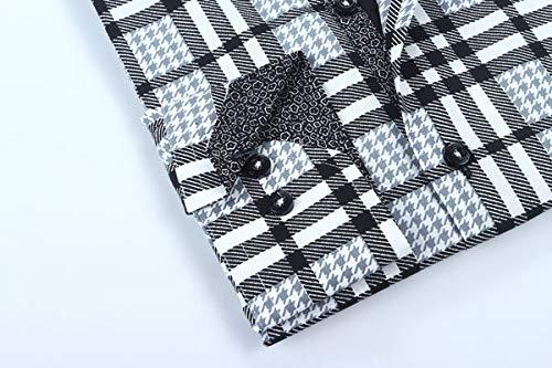 X-Large Brio Milano Mens Plaid White//Black Dress Shirt Modern Fit Casual Buttoned Down Dress Shirt