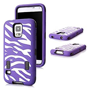 Tech Express (Tm) Zebra Impact Hybrid Durable Hard Cover (Free Screen Protector) Case for Samsung Galaxy S5 SV (Purple)
