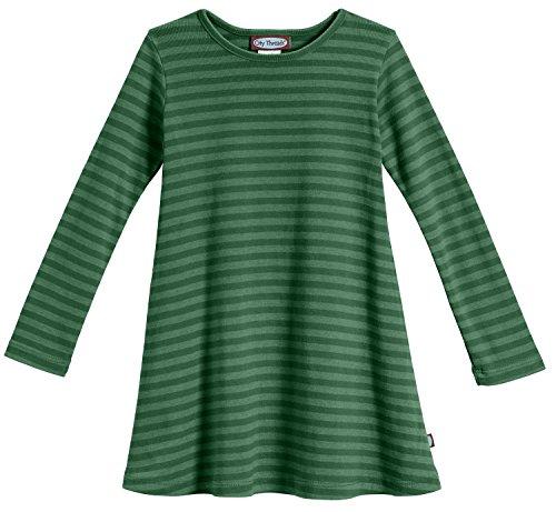City Threads Big Girls' Cotton Long Sleeve Dress, Striped Forest Green, 8 -