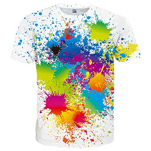 Hgvoetty Unisex Colorful Shirts for Men Women 3D Print Funny T-Shirts ()