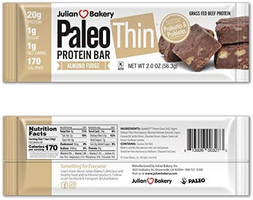 Julian Bakery Paleo Thin Protein Bar Almond Fudge Grass-Fed Beef 20g Protein 1 Net Carb 10 Bars